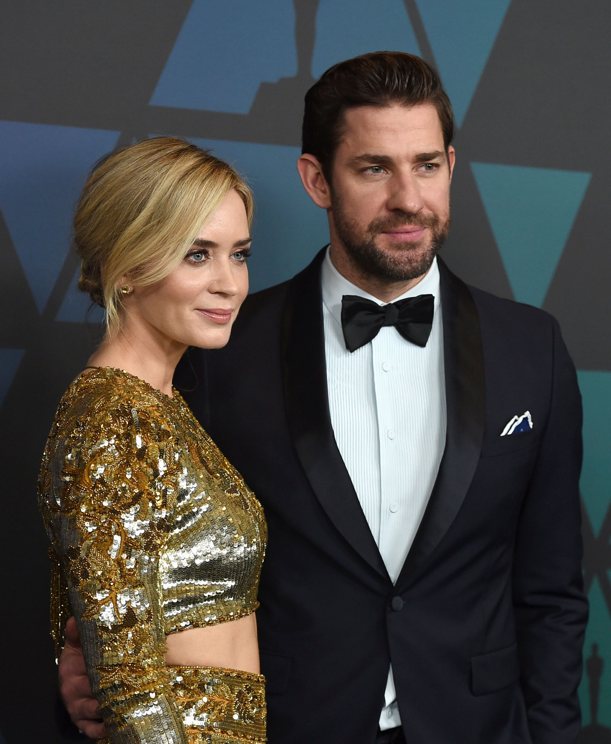 Emily Blunt, left, and John Krasinski arrive at the Governors Awards on Sunday, Nov. 18, 2018, at the Dolby Theatre in Los Angeles. (Photo by Jordan Strauss/Invision/AP)