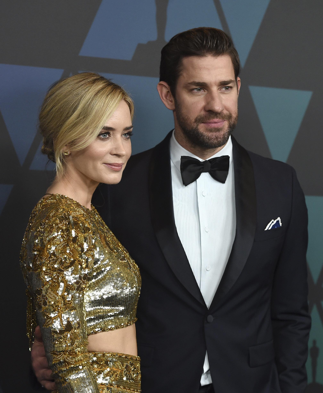 Emily Blunt and John Krasinski arrive at the 2018 Governor's Awards in November.