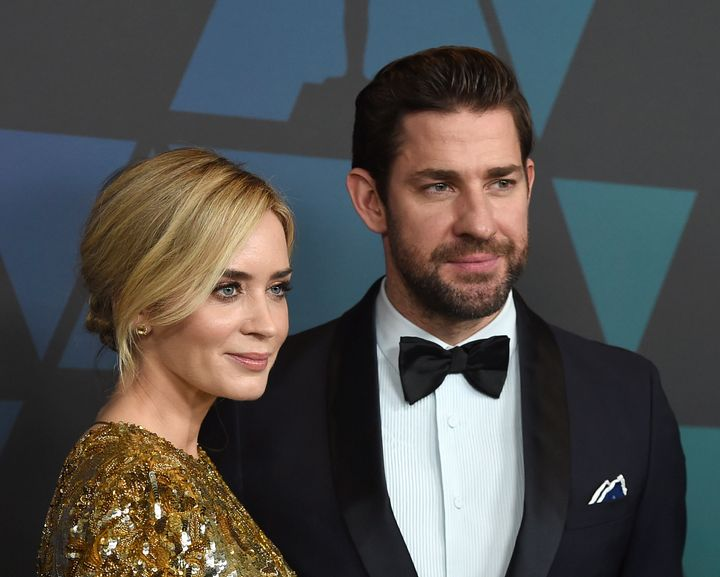 Emily Blunt and John Krasinski arrive at the 2018 Governor's Awards in November.