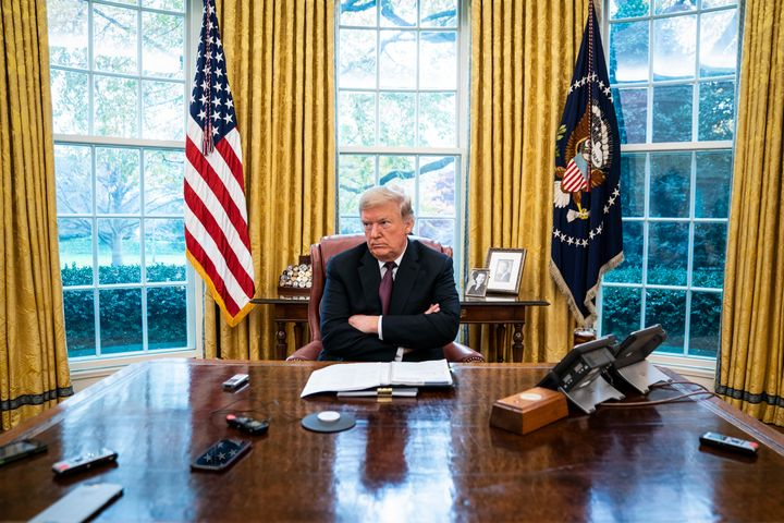 President Donald J. Trump speaks during an interview with Washington Post reporters Philip Rucker and Josh Dawsey in the Oval