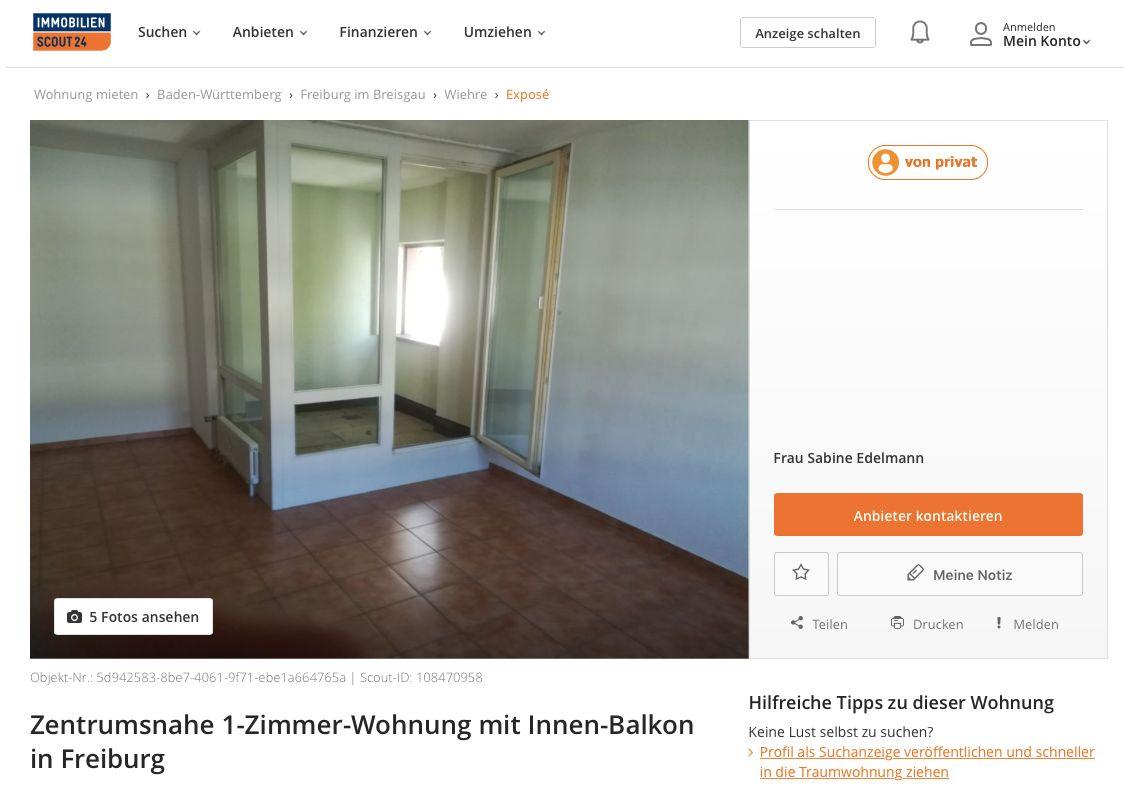 Freiburg: Vermieterin bietet Einraumwohnung mit wohl einzigartigem Extra