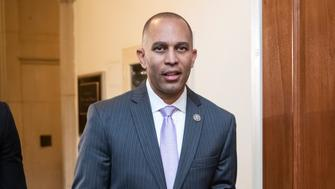 Rep. Hakeem Jeffries, D-N.Y., leaves a forum for freshmen Democrats to hear from members running for caucus leadership posts, at the Capitol in Washington, Tuesday, Nov. 27, 2018. Jeffries is running for caucus chair against veteran Rep. Barbara Lee of California, both prominent members of the Congressional Black Caucus. (AP Photo/J. Scott Applewhite)