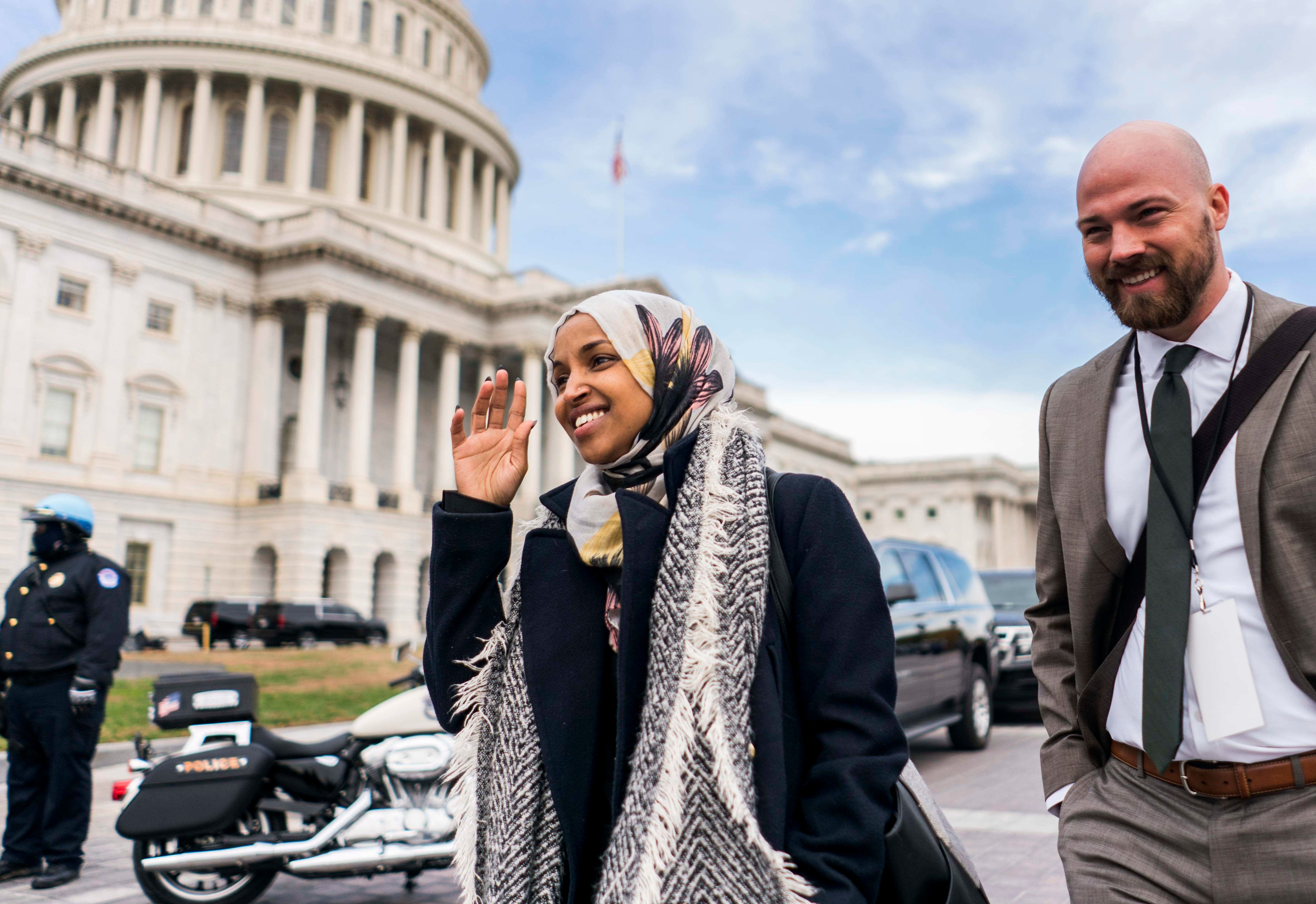 WASHINGTON, DC - On the US Capitol east front plaza 116th Congressional freshman Representatives, like Ilhan Omar (D-MN), leave with staff after the Member-Elect class photo on the Capitol Hill in Washington, DC on Wednesday November 14, 2018. (Photo by Melina Mara/The Washington Post via Getty Images)