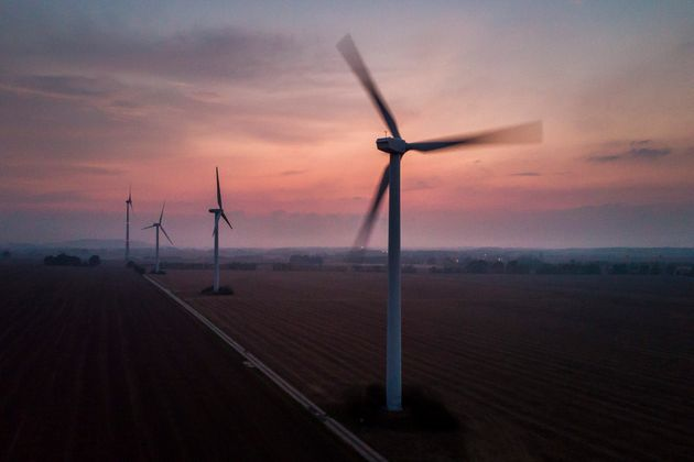 Wind turbines in Melaune, Germany, on September