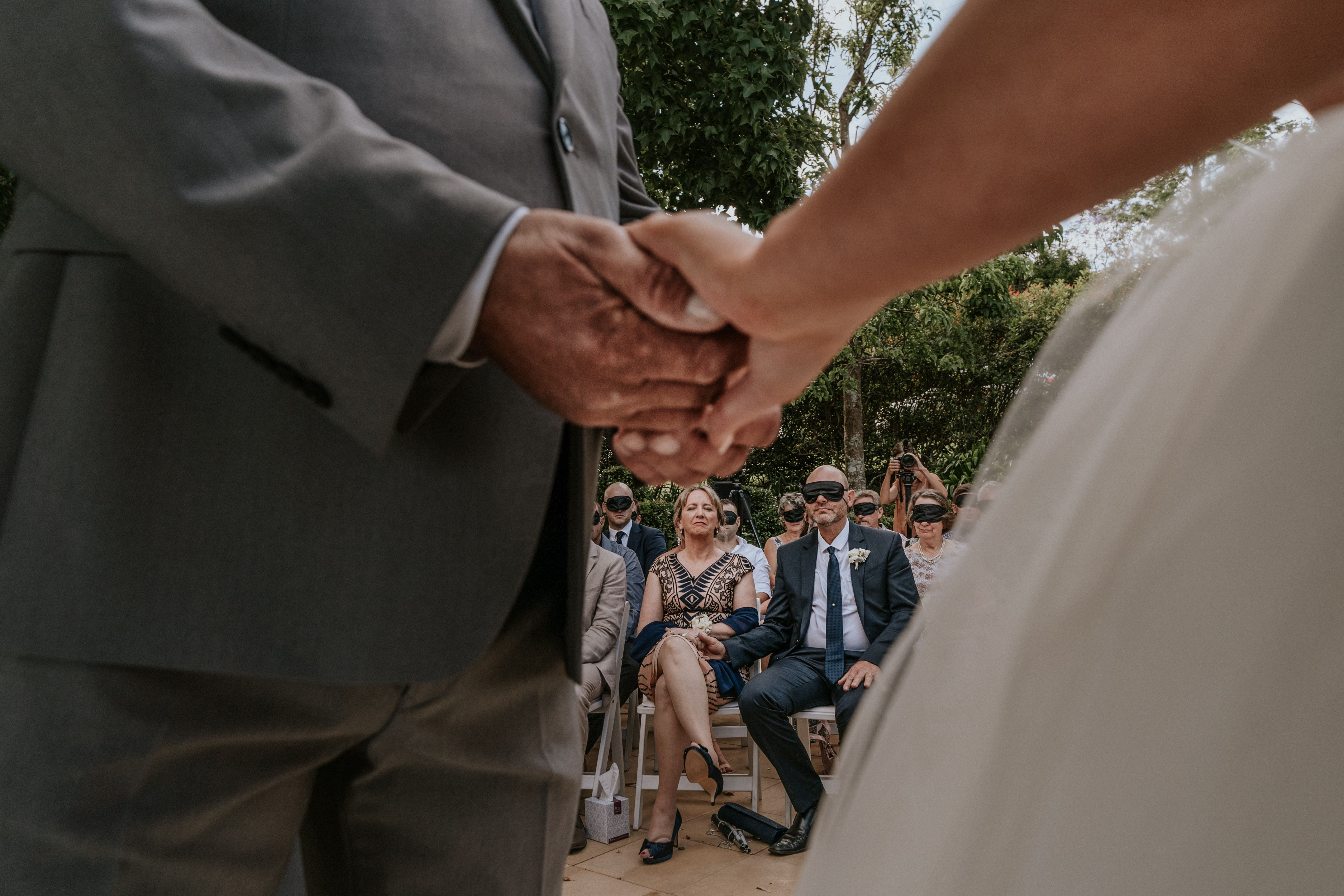 """""""When we lose one of our senses the others become heightened,"""" officiant Jarrad Bayliss said during the ceremony. """"Which allows us to experience something as beautiful as these vows in a totally unique way. Today, we get to experience that in Steph's way."""""""