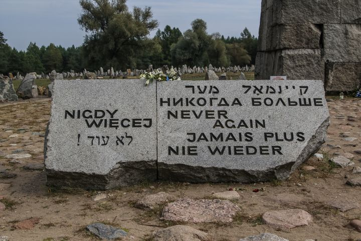 A Holocaust memorial near Treblinka, Poland, a former German Nazi extermination camp. Treblinka was second only to Auschwitz