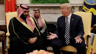 President Donald Trump meets with Saudi Crown Prince Mohammed bin Salman in the Oval Office of the White House, Tuesday, March 20, 2018, in Washington. (AP Photo/Evan Vucci)