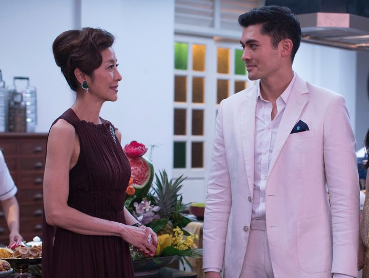 "Michelle Yeoh and Henry Golding in ""Crazy Rich Asians."""