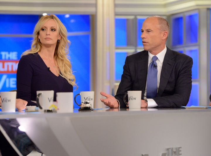 Stormy Daniels, left, and her lawyer Michael Avenatti.