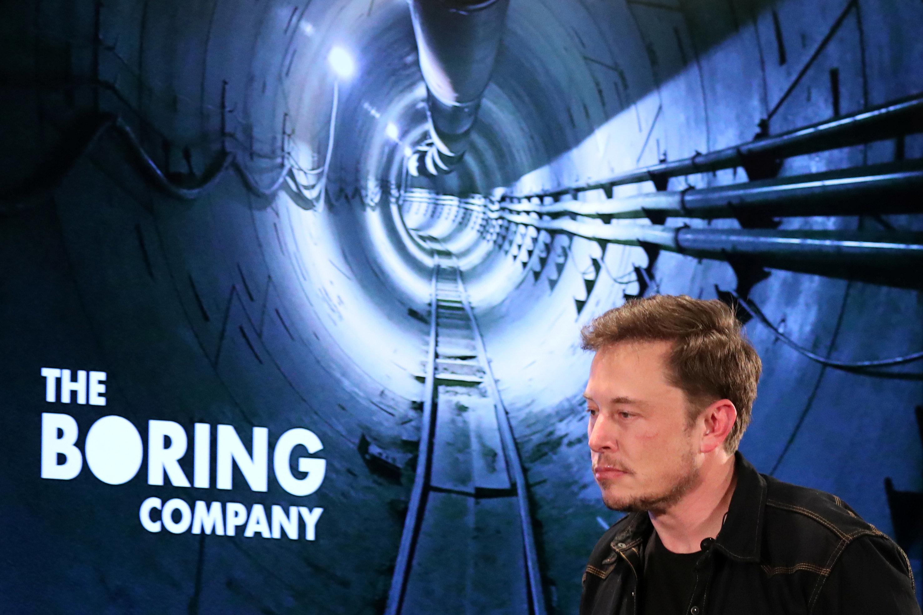 Elon Musk arrives to speak at Boring Company community meeting in Bel Air, Los Angeles, California, U.S. May 17, 2018. REUTERS/Lucy Nicholson