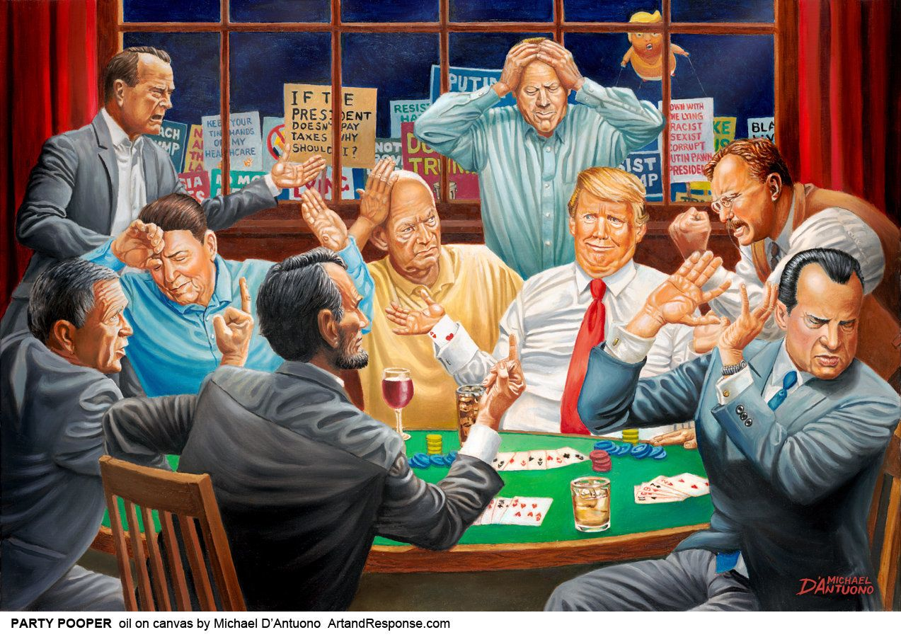 Painting Of Trump Chilling With Other GOP Presidents Gets Scathing