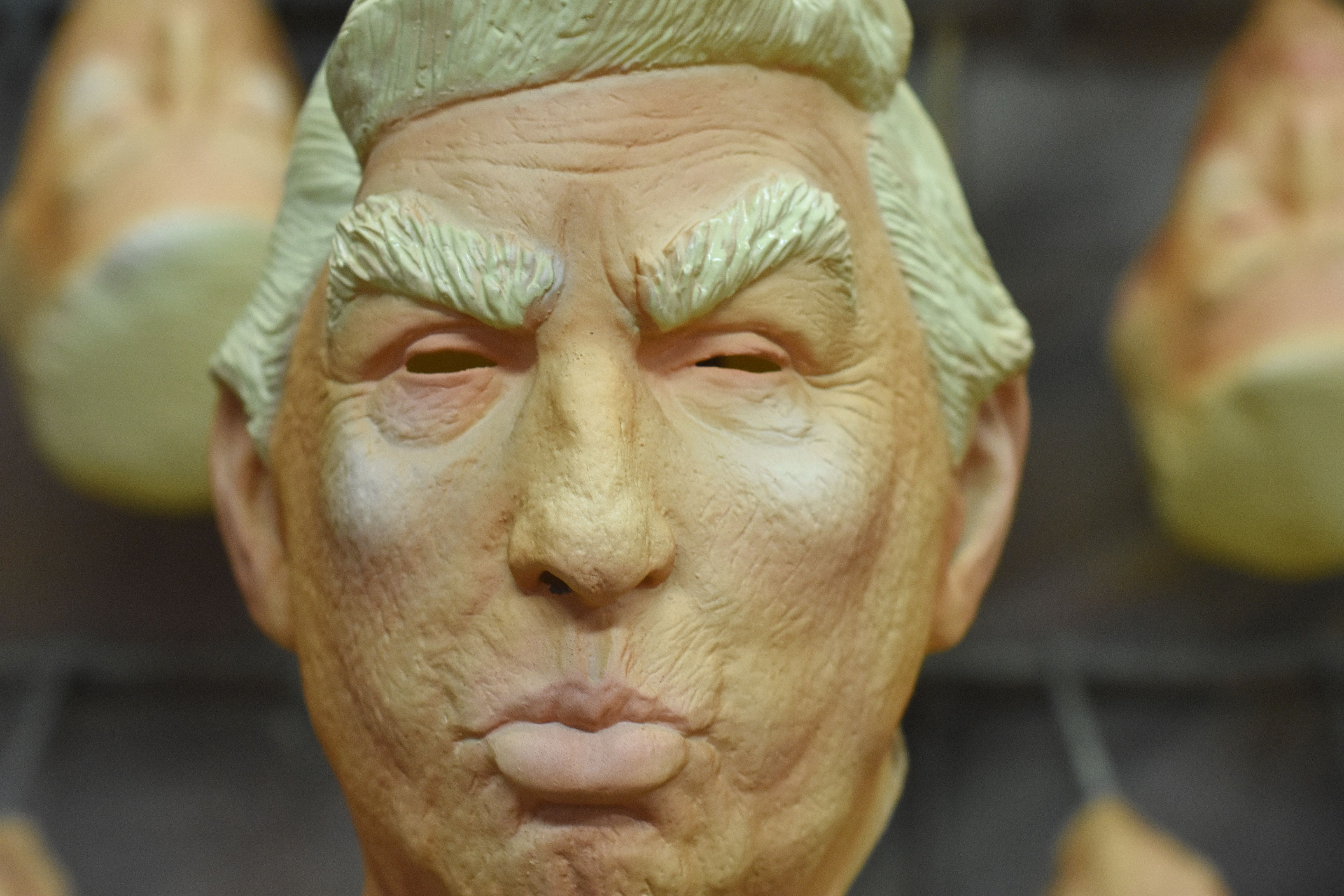 CUERNAVACA, MEXICO - APRIL 27: Detail of U.S President Donald Trump latex mask during the finishing process of latex masks manufacturing at REV Latex Mask factory on April 27, 2018 in Cuernavaca, Mexico. (Photo by Carlos Tischler/Getty Images)
