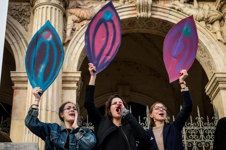"Women at the ""Nous Toutes"" protest in Lyon, France."