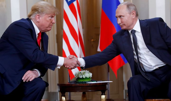 President Donald Trump's last sit-down meeting with Russian President Vladimir Putin was in Finland in July, pictured. Trump