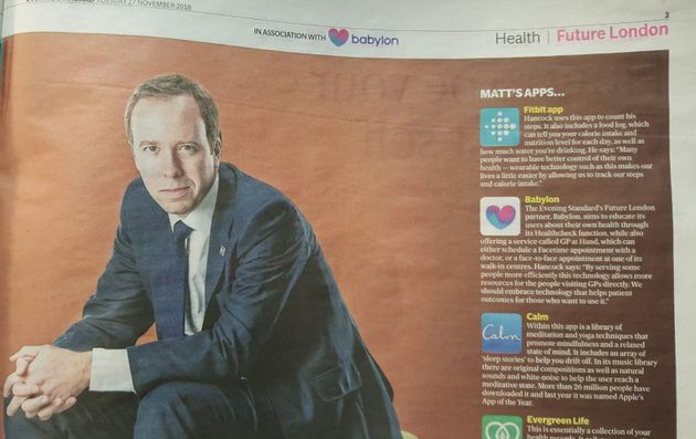 The health secretary listed Babylon among the health apps on his phone