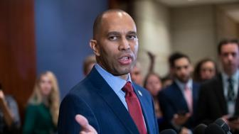 Rep. Hakeem Jeffries, D-N.Y., speaks after being elected chairman of the House Democratic Caucus for the 116th Congress in January, at the Capitol in Washington, Wednesday, Nov. 28, 2018. Jeffries defeated Rep. Barbara Lee, D-Calif., both prominent members of the Congressional Black Caucus. (AP Photo/J. Scott Applewhite)