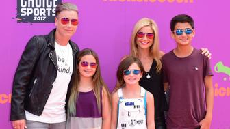 LOS ANGELES, CA - JULY 13:  Former soccer player Abby Wambach (L), writer Glennon Doyle Melton (2nd from L) and guests attend Nickelodeon Kids' Choice Sports Awards 2017 at Pauley Pavilion on July 13, 2017 in Los Angeles, California.  (Photo by C Flanigan/Getty Images)