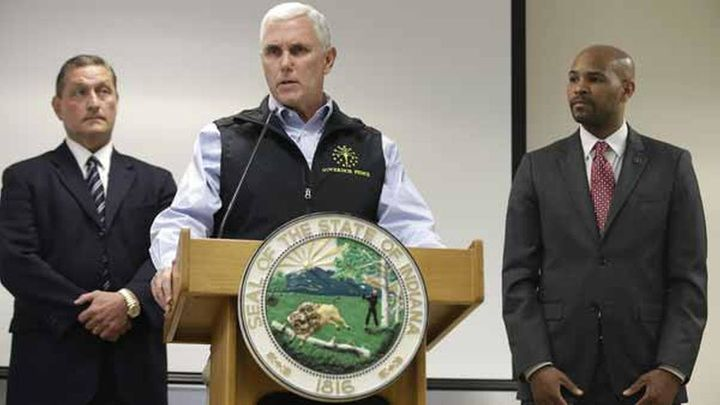 Here's then-Gov. Mike Pence with officials from the Centers for Disease Control and Prevention in 2015. They finally convince