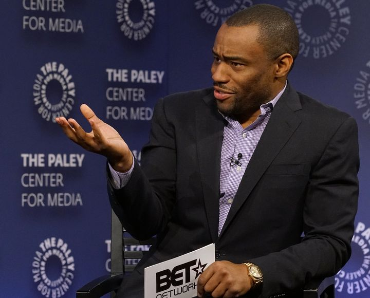 Marc Lamont Hill moderates a panel discussion at the Paley Center for Media in 2016.