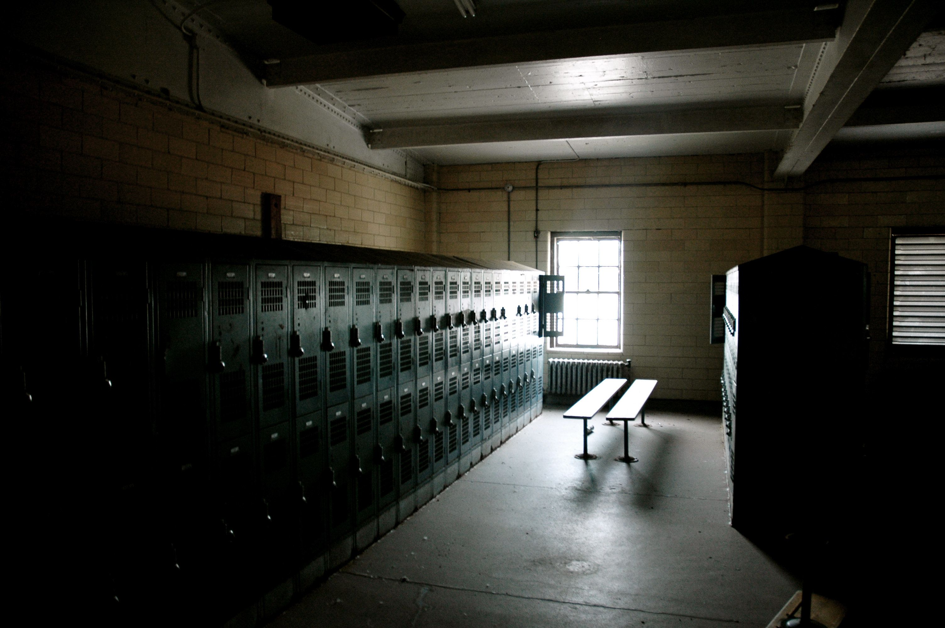 Locker room at an abandoned swimming pool.