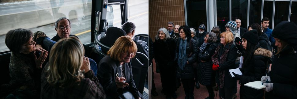 Left: Benjamin and Hart talk with others on the bus ride from Ohio to Michigan. Right: The ACLU addresses a group of about 30