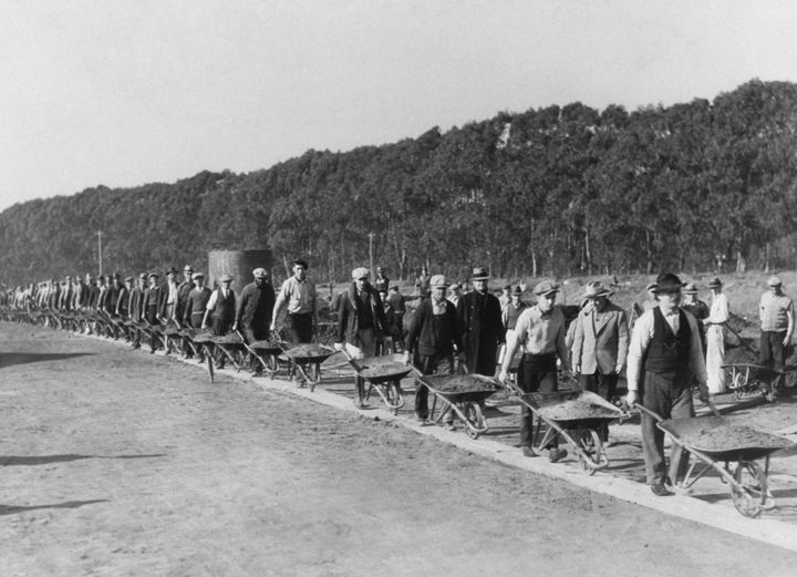 Civil Works Administration workers during the construction of the Lake Merced Parkway Boulevard in San Francisco in 1934.