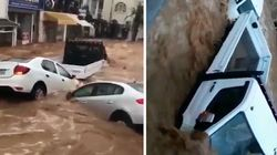Des pluies diluviennes emportent les voitures en