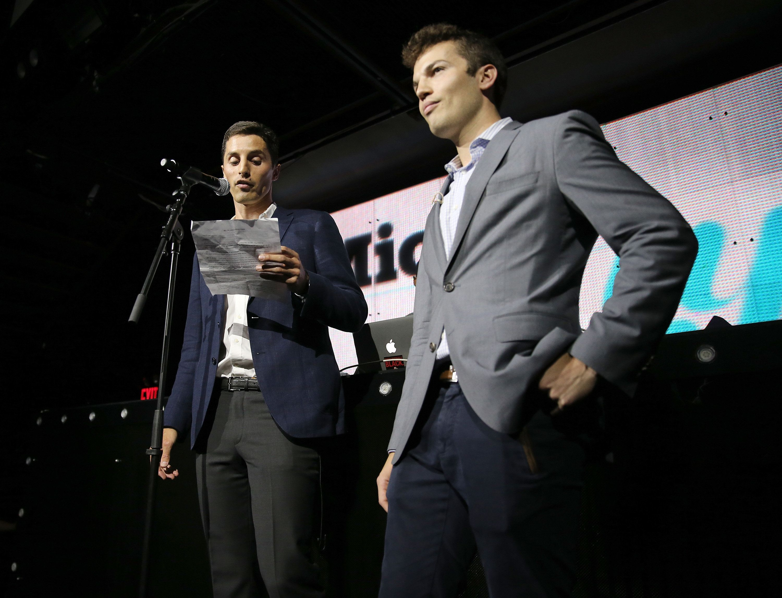 NEW YORK, NY - JUNE 18:  CEO and Co-foudner of Mic.com Chris Altchek (L) and Jake Horowitz speak onstage at GREY GOOSE Vodka Hosts The Inaugural Mic50 Awards at Marquee on June 18, 2015 in New York City.  (Photo by Neilson Barnard/Getty Images for Grey Goose)