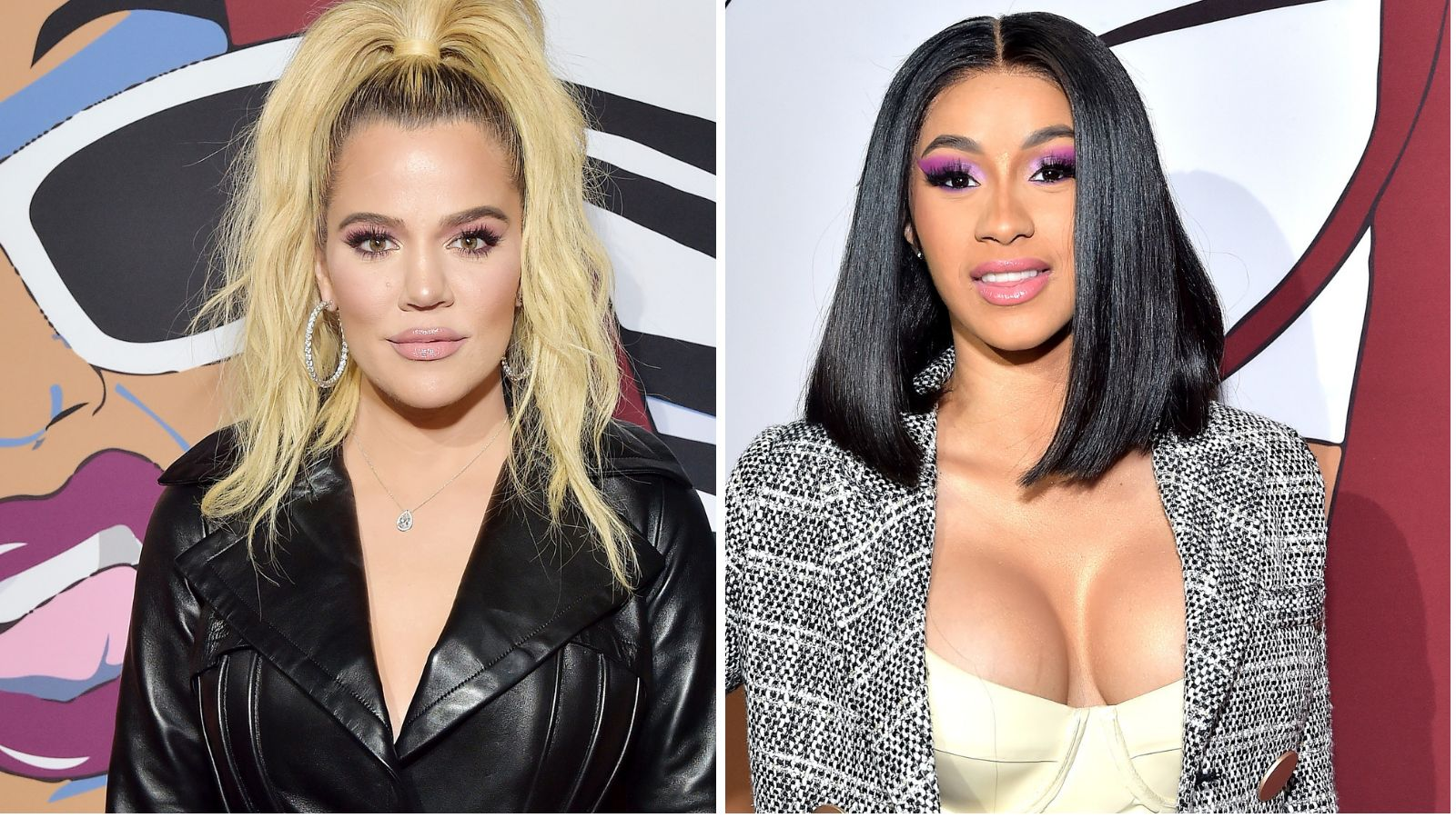 split image of Cardi B and Khloe Kardashian