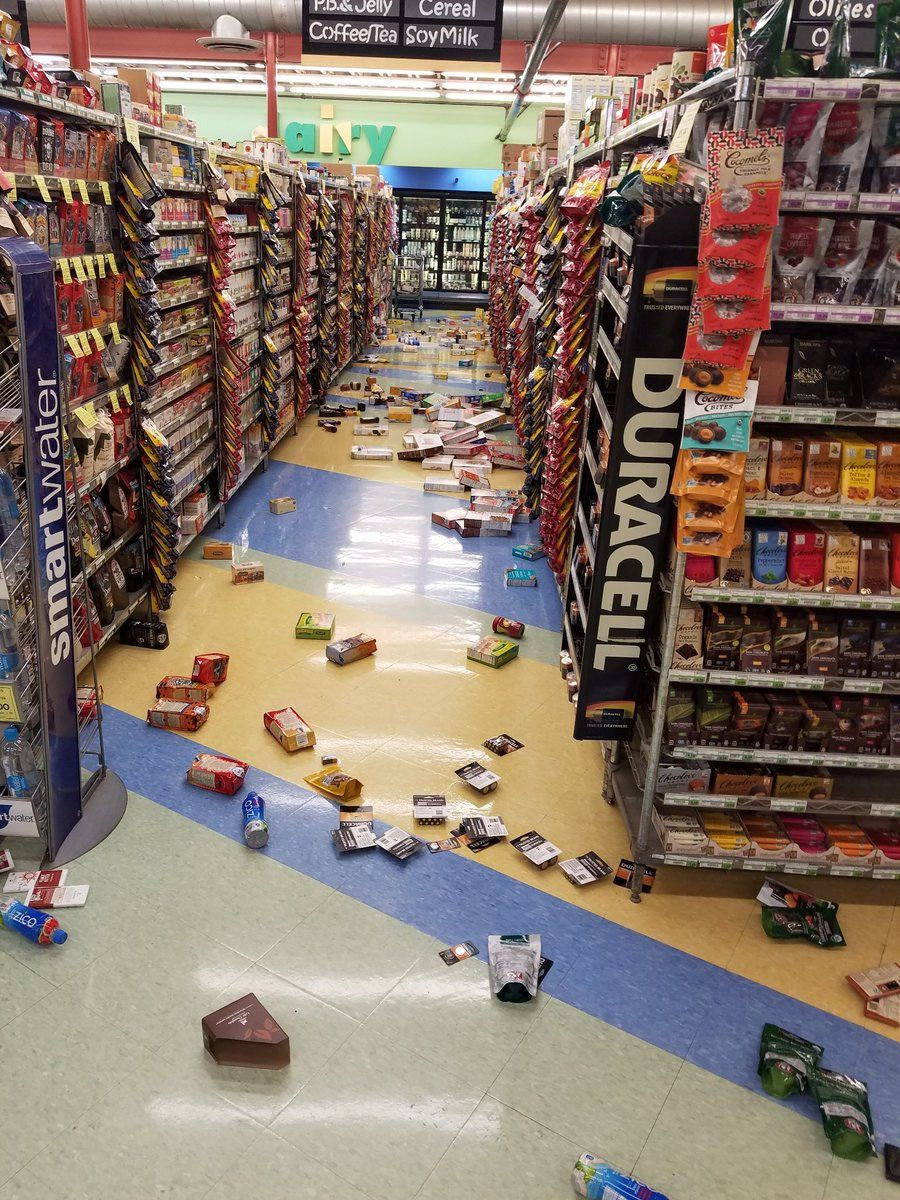 Earthquake damage is seen inside a store in Anchorage.
