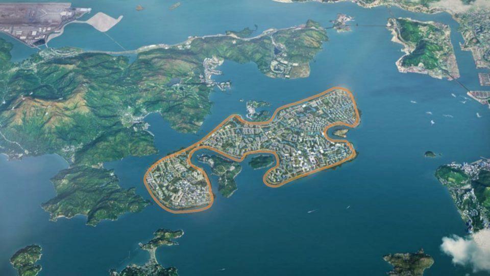 Eine Graphik des von Carrie Lam vorgeschlagenen künstlichen Inselplans.