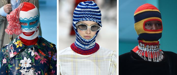 Balaclavas seen at Gucci (left and far right) and Calvin Klein (middle).