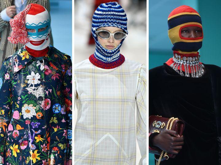 Balaclavas da Gucci (esquerda e extrema direita) e da Calvin Klein (foto do meio).