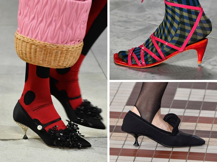 Clockwise from left: kitten heels at Miu Miu, Molly Goddard and Acne Studios.