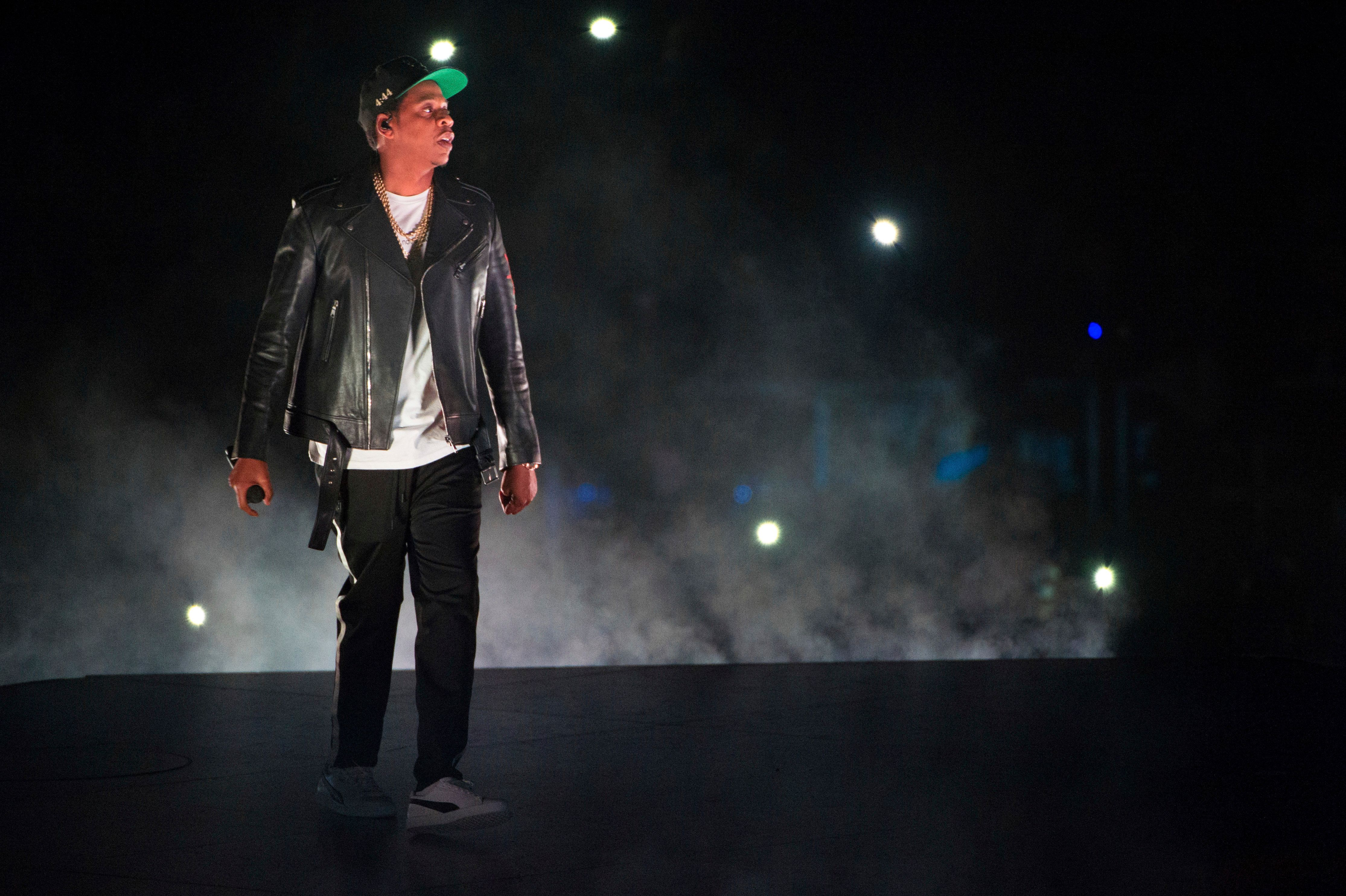 Jay-Z performs on the 4:44 Tour at Barclays Center on Sunday, Nov. 26, 2017, in Brooklyn, New York. (Photo by Scott Roth/Invision/AP)