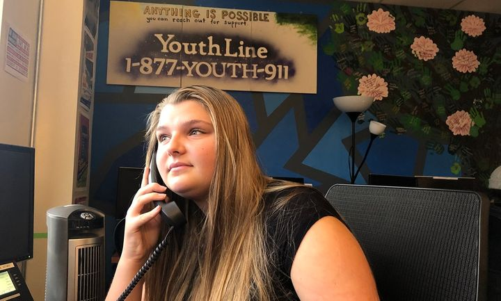 Amy Sloan, 17, is a volunteer at Oregon's YouthLine in Portland. As youth suicide rates rise, schools and communities are off