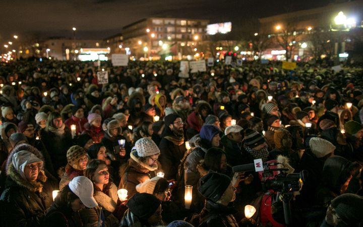 A vigil in Montreal for the victims of aQuebec City mosque shooting that left six people dead in January 2017. The numb