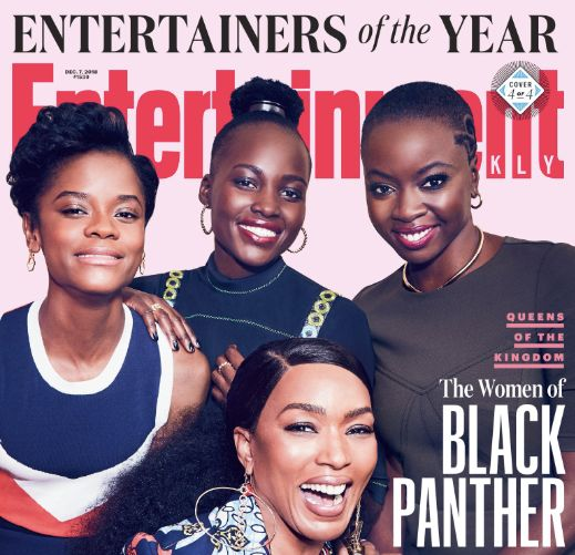 "The female leads of ""Black Panther"" lit up one of Entertainment Weekly's Entertainers of the Year covers."