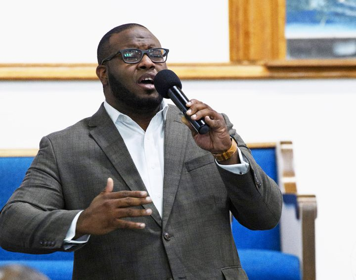 This Sept. 21, 2017 file photo provided by Harding University in Search, Ark., shows Botham Jean leading worship at a univers