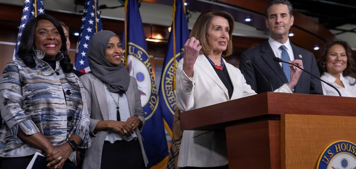 House Minority Leader Nancy Pelosi, center, is joined by fellow Democrats, from left, Rep. Terri Sewell of Alabama, Rep.-elect Ilhan Omar of Minnesota, Rep. John Sarbanes of Maryland and Rep.-elect Veronica Escobar of Texas at a news conference Friday to discuss their priorities for the 116th Congress.