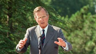 ANKARA, TURKEY - (ARCHIVE) : A file photo dated July 20, 1991 shows Former US President George H.W. Bush makes a speech during a press conference in Ankara, Turkey on July 20, 1991. 41st president of the United States George Herbert Walker Bush died at age of 94.               (Photo by AA Archive/Anadolu Agency/Getty Images)
