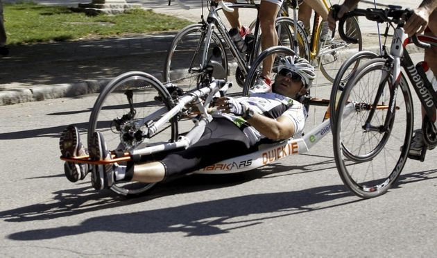 A disabled cyclist pictured during a trip from London to Tokyo (file