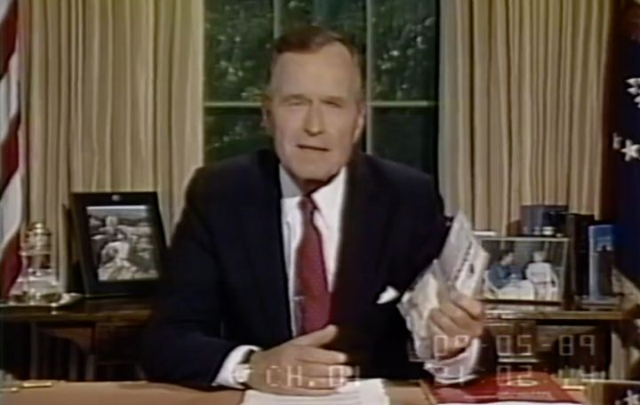 The late President George H.W. Bush launched an anti-drug initiative from the Oval Office in 1989.