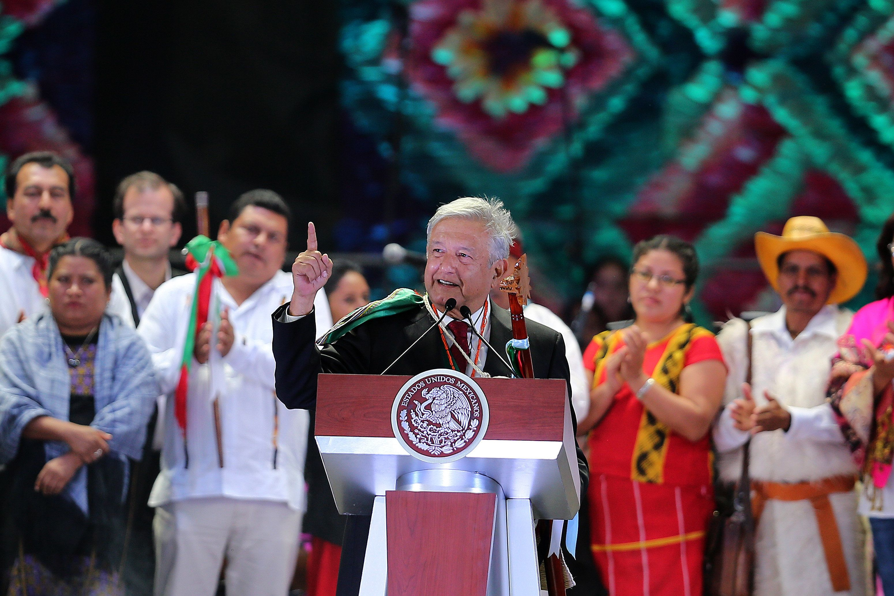 MEXICO CITY, MEXICO - DECEMBER 01: Andres Manuel Lopez Obrador, President of Mexico, gives a speech during the events of the Presidential Investiture as part of the 65th Mexico Presidential Inauguration at Zocalo on December 01, 2018 in Mexico City, Mexico. (Photo by Manuel Velasquez/Getty Images)