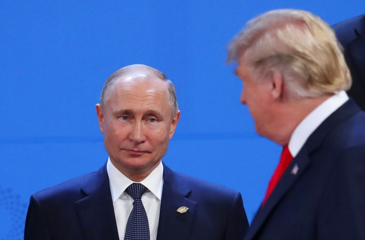 President Donald Trump and Russia's President Vladimir Putin are seen during the G-20summit in Buenos Aires, Argentina,