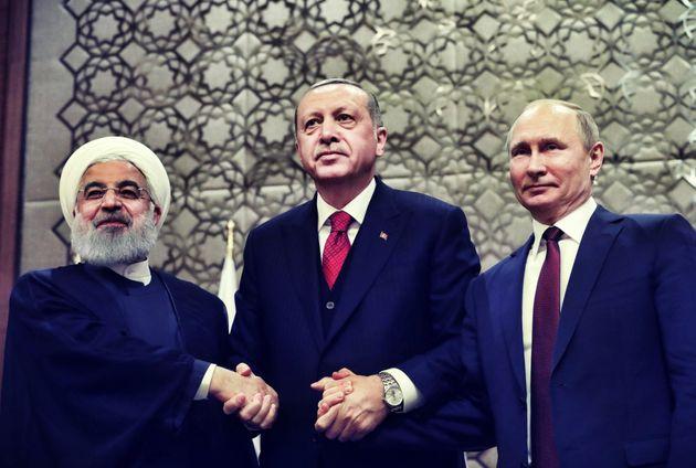 Drei Autokraten unter sich: Irans Präsident Hassan Rohani, der türkische Präsident Recep Tayyip Erdogan und Russlands Regierungschef Wladimir Putin.