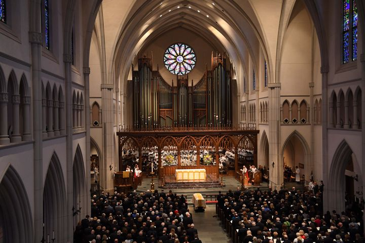 The funeral for former first lady Barbara Bush at St. Martin's Episcopal Church in Houston on April 21, 2018.