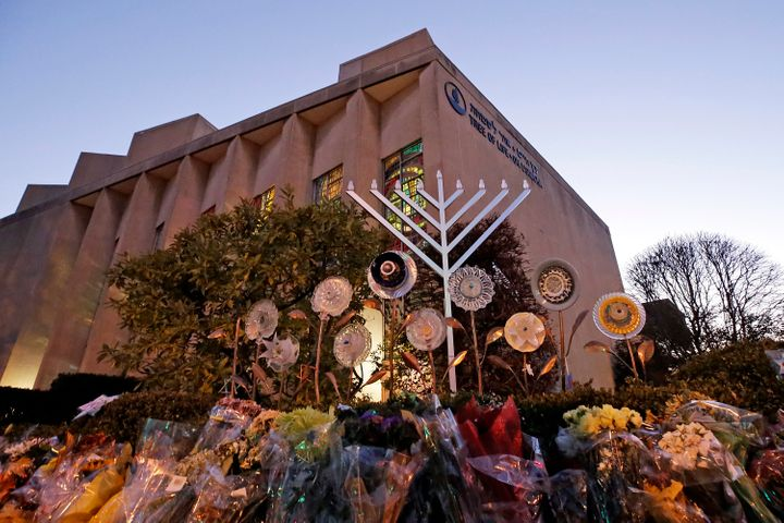 A menorah is installed outside the Tree of Life Synagogue in preparation for a celebration service at sundown on the first ni