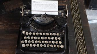 The vintage Underwood Standard Portable typewriter used in college by late Playboy publisher Hugh Hefner is displayed as part of Julien's Auctions upcoming sale of his belongings on November 26, 2018 in Beverly Hills, California. - Items from the personal collection of the American publishing icon will be sold at auction November 30-December 1, 2018. Hugh Hefner died at the age of 91 on September 27, 2017. (Photo by Robyn Beck / AFP)        (Photo credit should read ROBYN BECK/AFP/Getty Images)