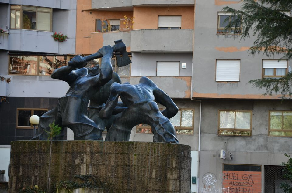 A monument to coal miners in Villablino,